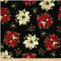 "Tis The Season 58"" Wide Large Poinsettias Black"