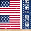 Island Batik Quilted in Honor Batik Patriotic Flags Off White