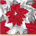 Kaufman Holiday Flourish Metallic Poinsettias Silver