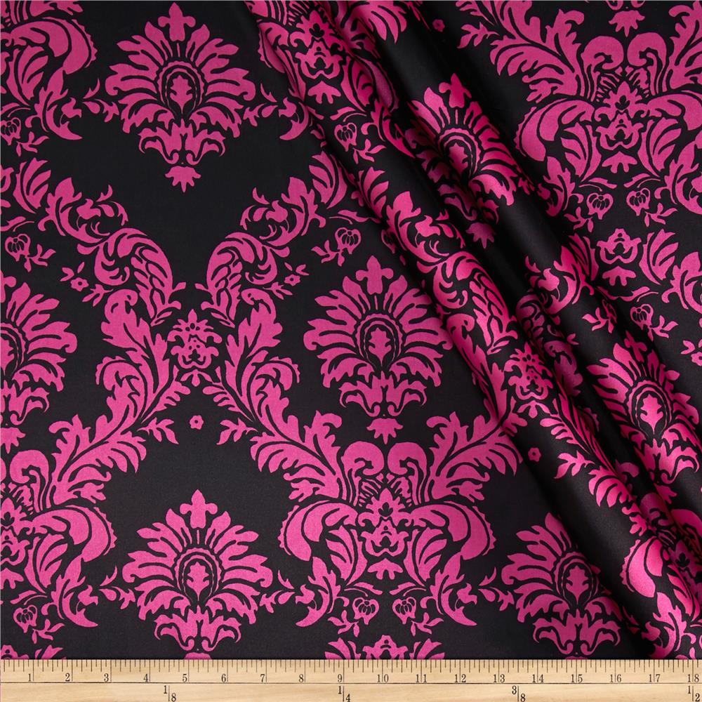 Charmeuse Satin Damask Black/Fuschia