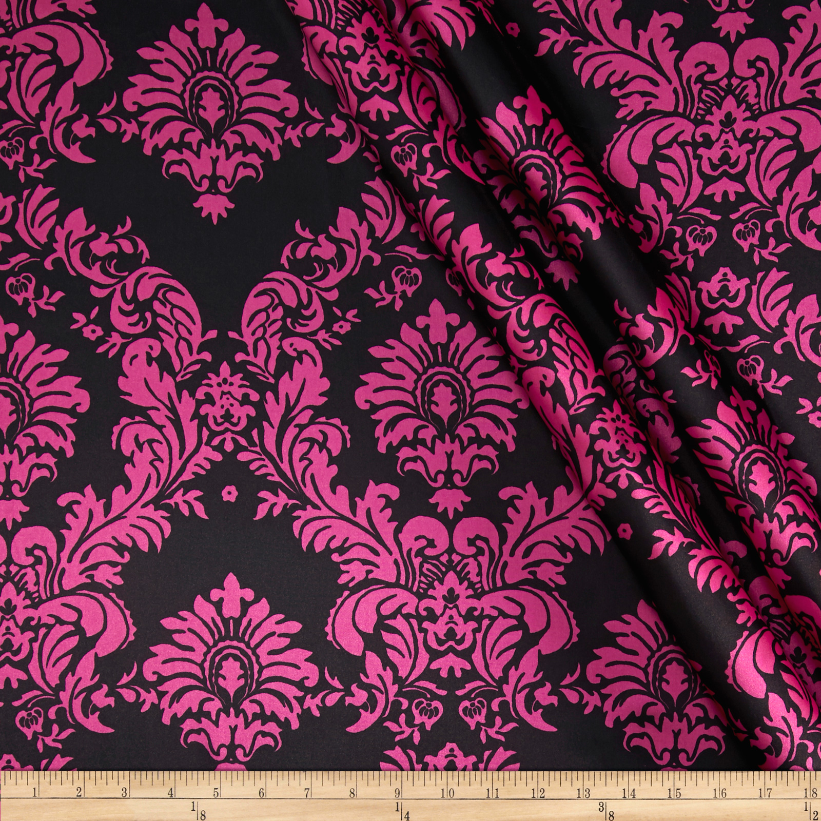 Charmeuse Satin Damask Black/Fuschia Fabric