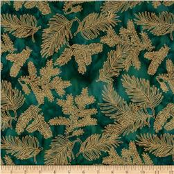 Island Batik Metallic Branches Dark Greeen/Gold