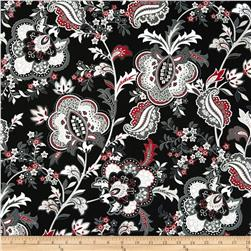 Black, White & Currant 5 Jacobean Floral Black