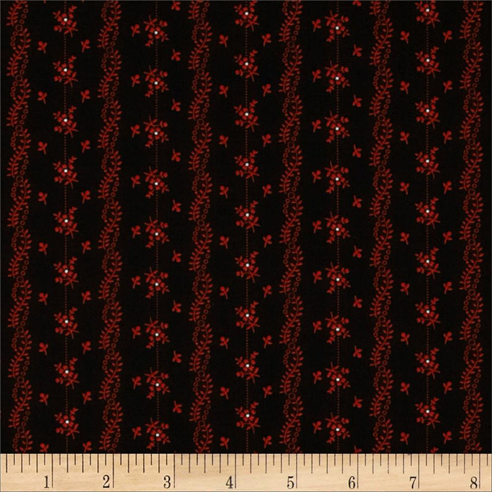 Scarlet Evening Flower Stripe Black