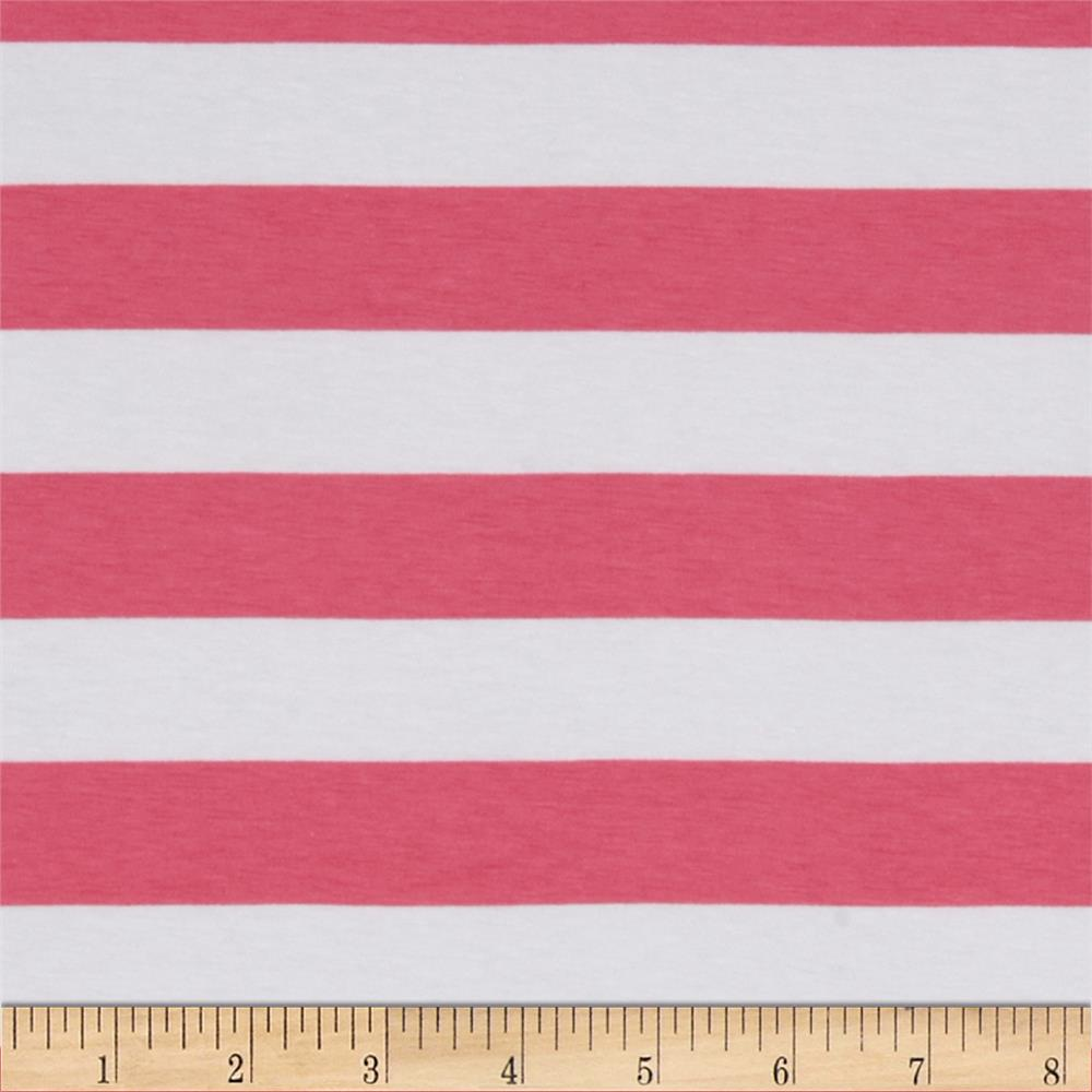 "Riley Blake Jersey Knit 1"" Stripes Hot Pink"