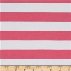 "Riley Blake Cotton Jersey Knit 1"" Stripes Hot Pink"