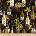 Timeless Treasures Wine Bottles Black