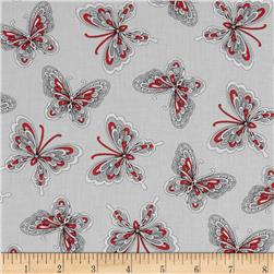 Rubies Butterflies Grey