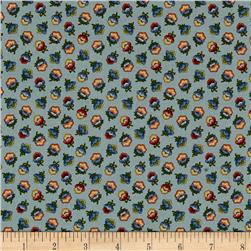 M for Mystery Tossed Flowers Teal/Multi