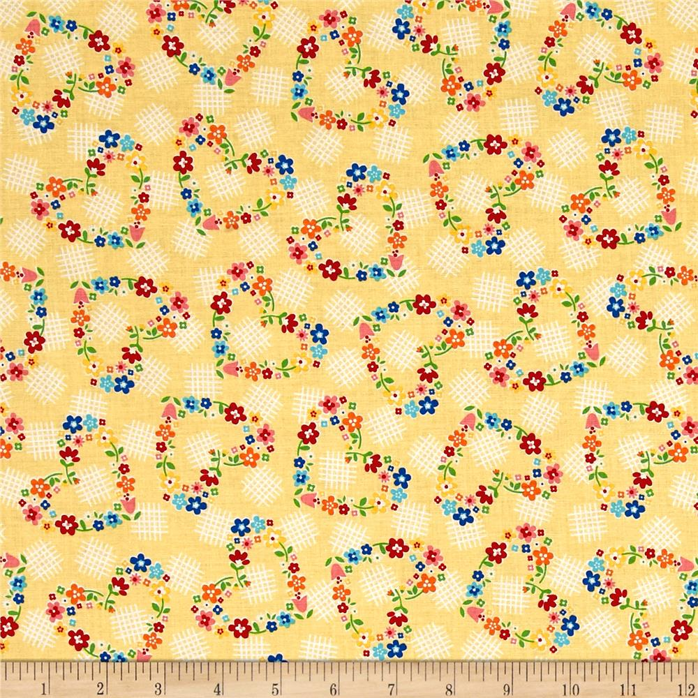 Riley Blake Arbor Blossom Hearts Yellow