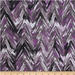Cotton Lawn Abstract Zig Zag Purple/Grey