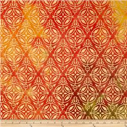 Indian Batik Montego Bay Metallic Medallion Orange/Yellow