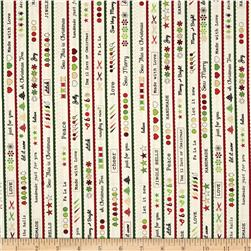 Robert Kaufman Merry Stitchmas Stripe Metallic Vintage
