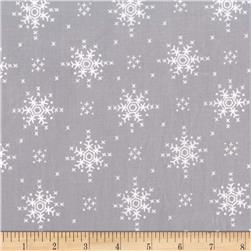 Michael Miller Woodland Winter Stitch Snowflake Silver