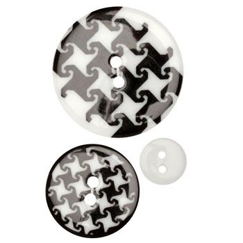 Fashion Buttons 1/2'', 1.00'', 1 3/8'' Coordinates Houndstooth Black/White