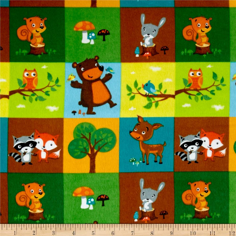 Comfy  Flannel Woodland Blocks Green