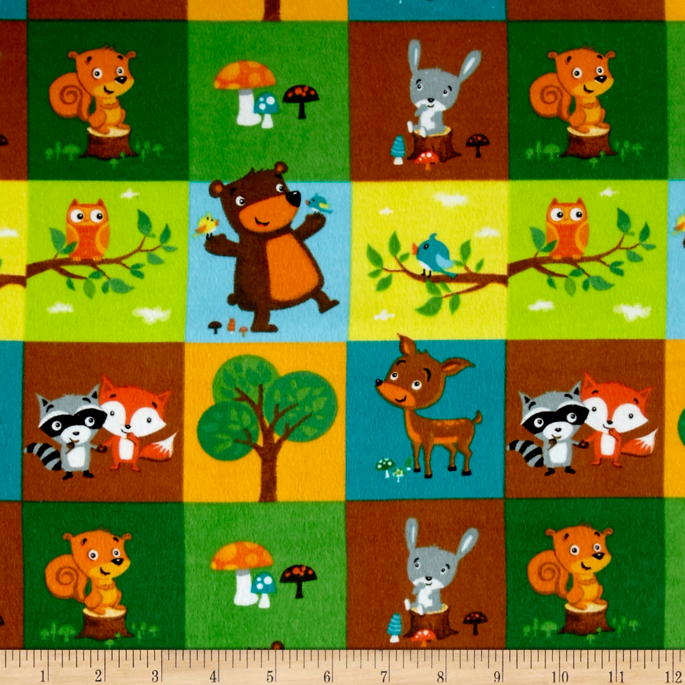 Comfy Flannel Woodland Blocks Green Fabric by A. E. Nathan in USA
