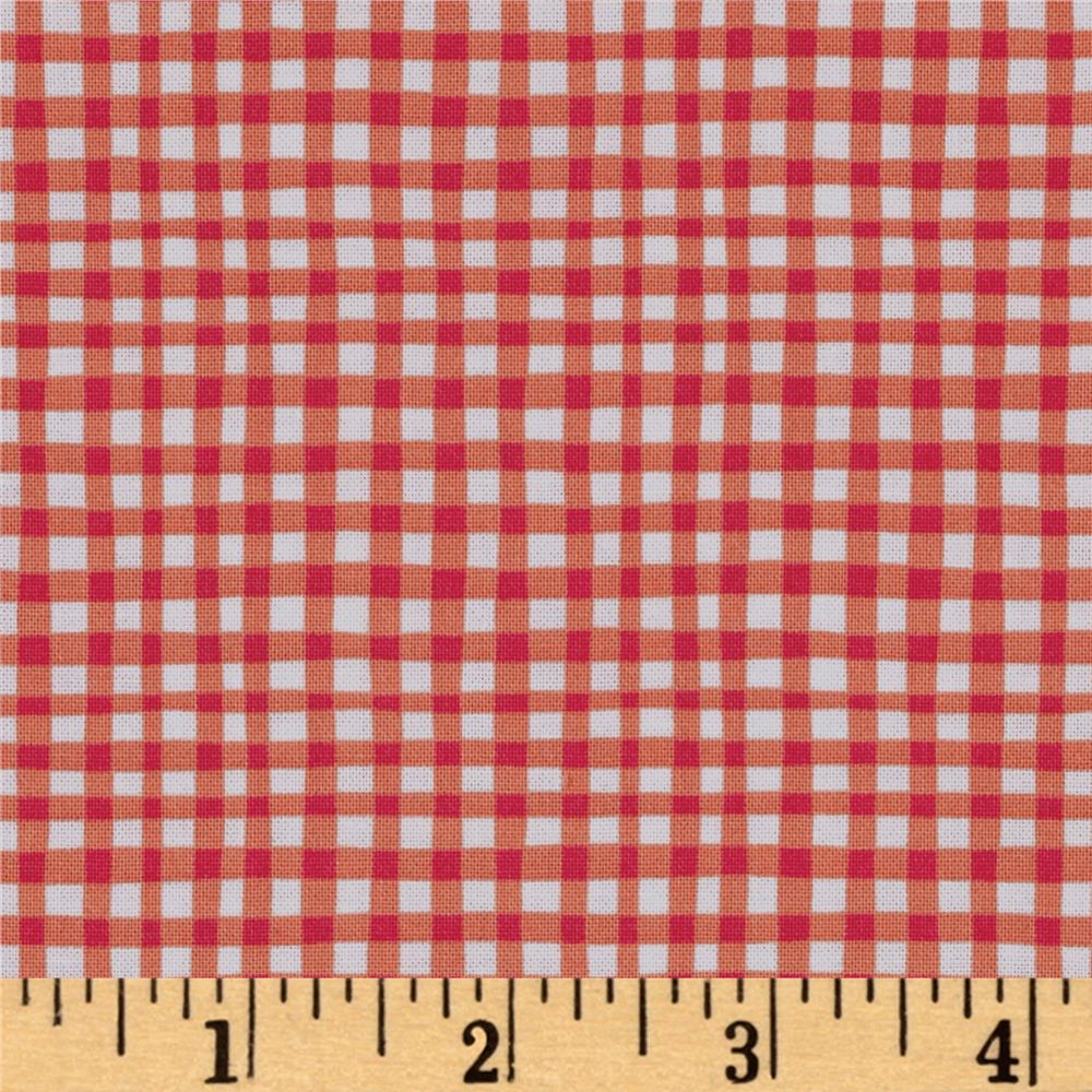 Michael Miller Doggie Play Day Gingham Play Tangerine