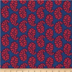 Joyful Leaf Paisley Red on Navy