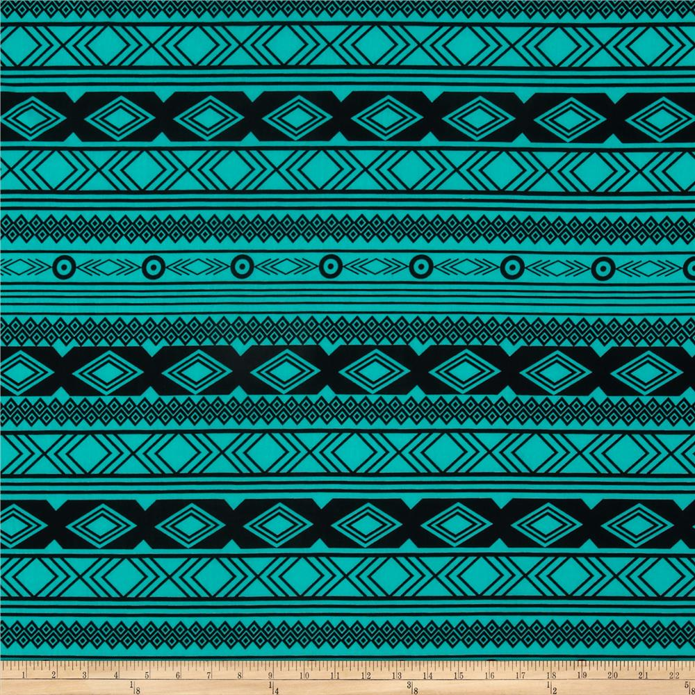 ITY Jersey Knit Aztec Teal/Black