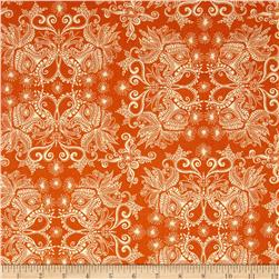 Robert Kaufman In the Bloom Abstract Flowers Mango