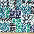 Stretch Lace Bubbles Teal/Black