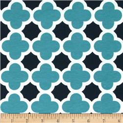 Riley Blake Stretch Cotton Jersey Knit Quatrefoil Teal/Navy
