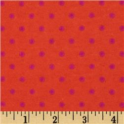 Aunt Polly's Flannel Small Polka Dots Orange/Magenta