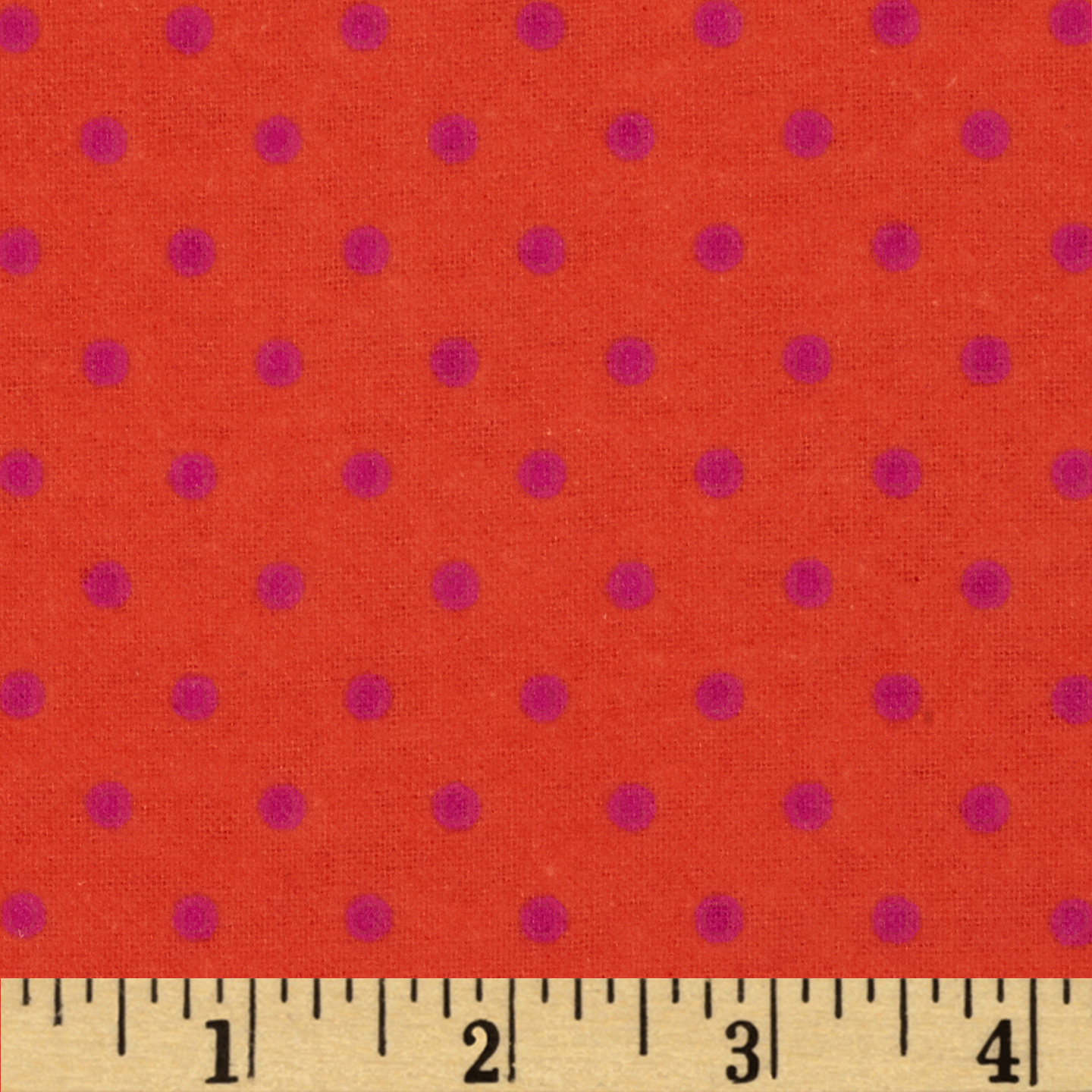 Aunt Polly's Flannel Small Polka Dots Orange/Magenta Fabric