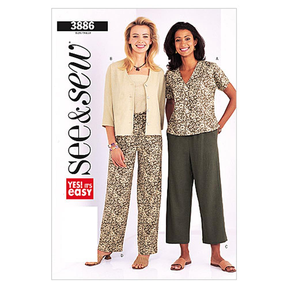 Butterick Misses'/Misses Petite Jacket & Pants Pattern B3886