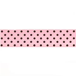 "May Arts 1 1/2"" Grosgrain Dots Ribbon Spool Pink/Brown"