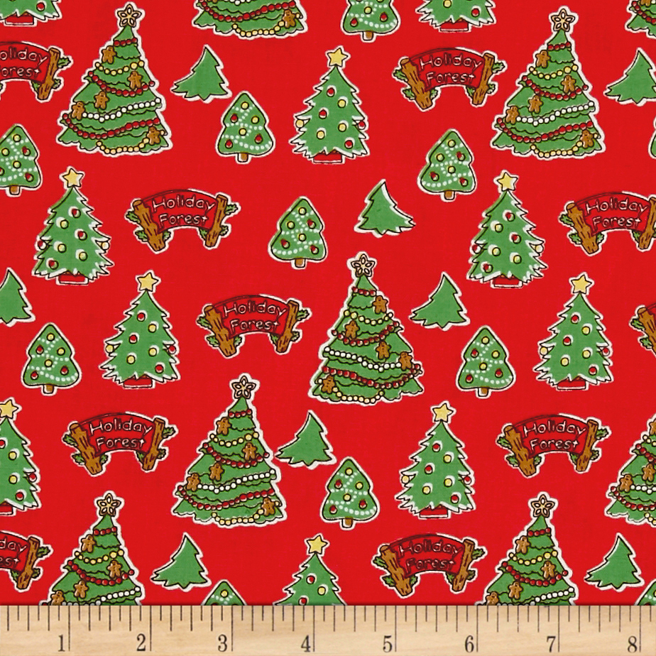 Storybook Christmas Christmas Trees Red Fabric By The Yard