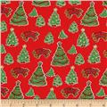 Storybook Christmas Christmas Trees Red