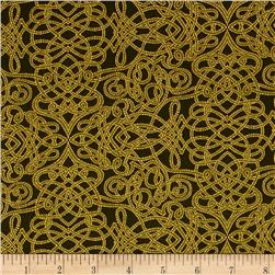 Robert Kaufman Holiday Flourish Metallic Squiggle Green