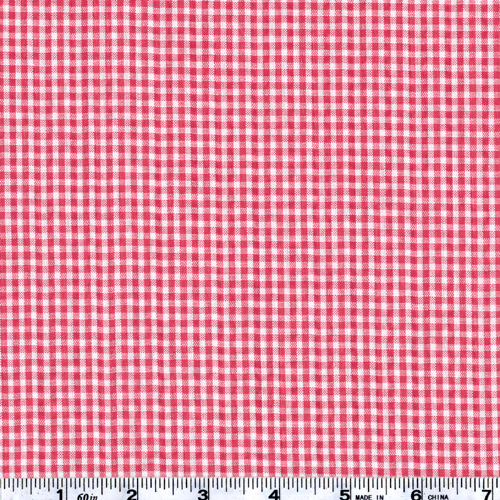 Woven Poly/Cotton Seersucker Gingham Red