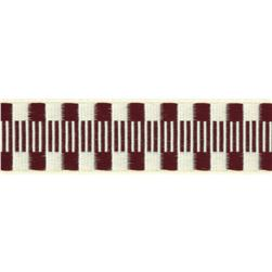 1'' Jacquard Ribbon Check Stripes Burgundy/Ivory