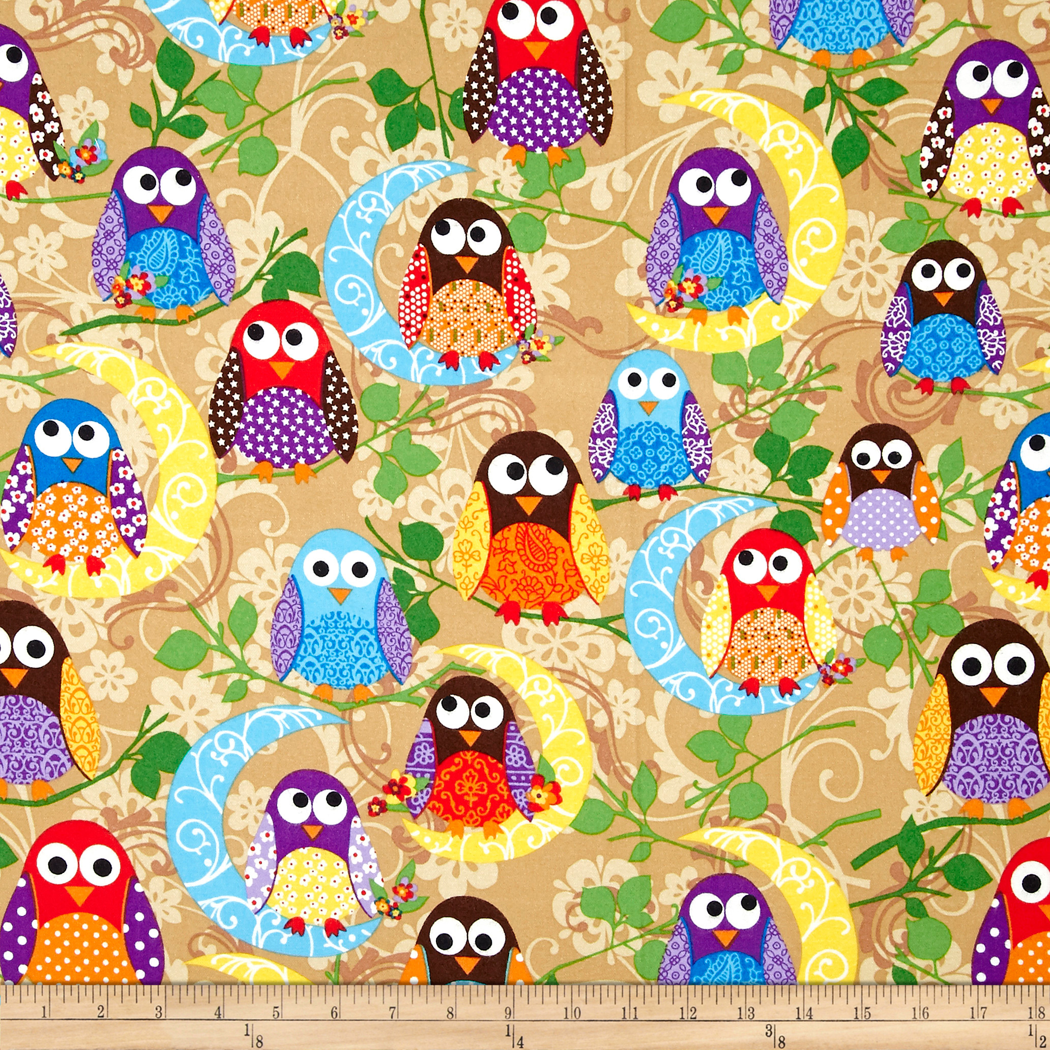 What a Hoot Flannel Large Owls Beige Fabric