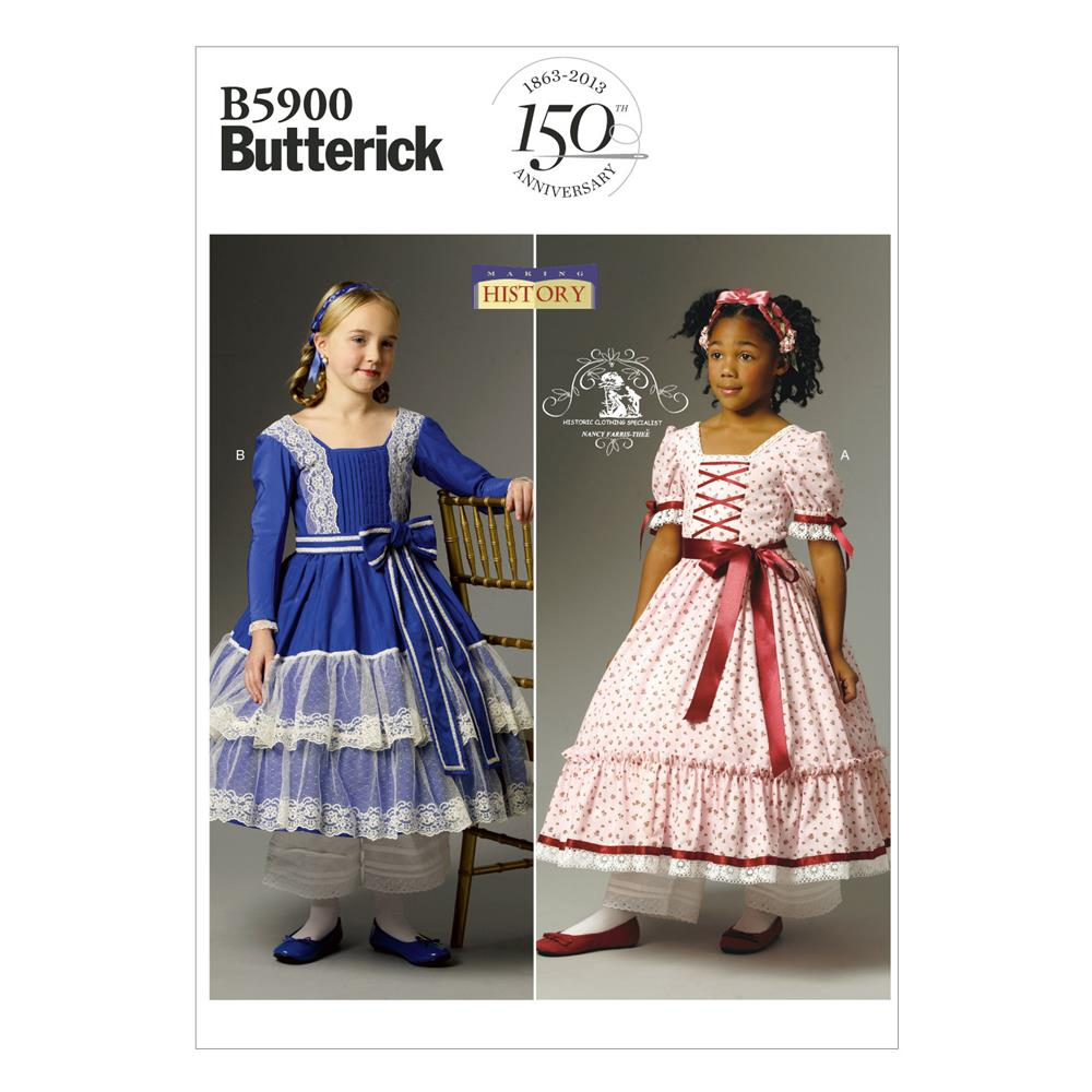 Butterick children 39 s girls 39 dress pattern b5900 size cdd for Kids pattern fabric