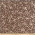 Kaufman Sevenberry Canvas Cotton Flax Prints Etched Flowers Grey