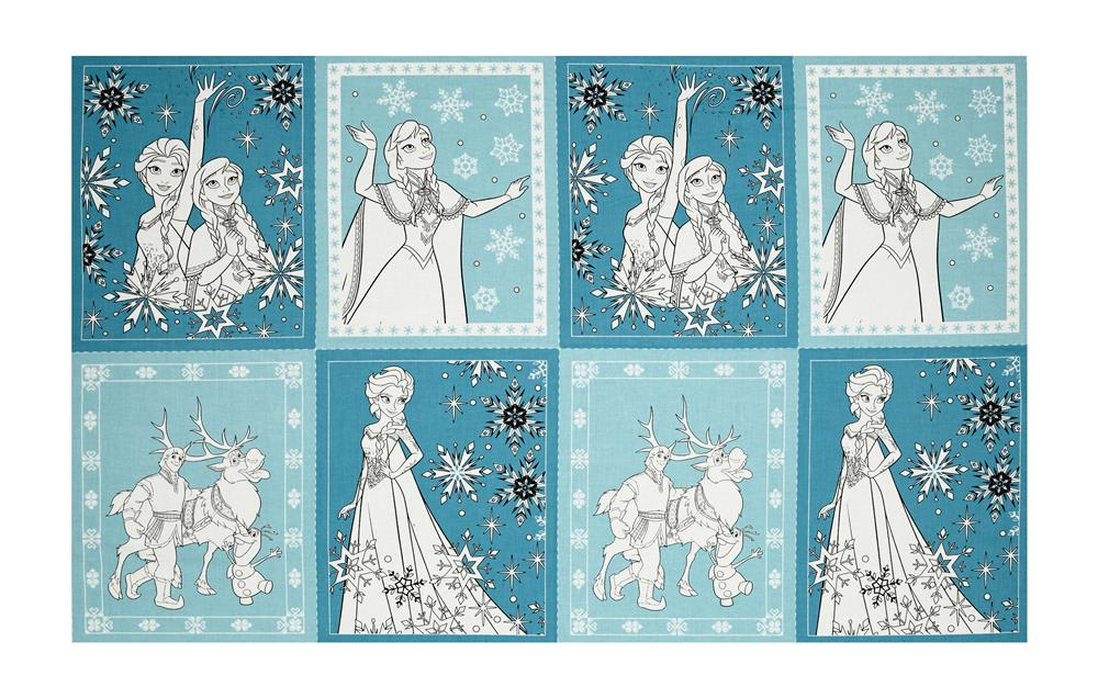 Disney Frozen Book Pages 24'' Panel Teal Fabric