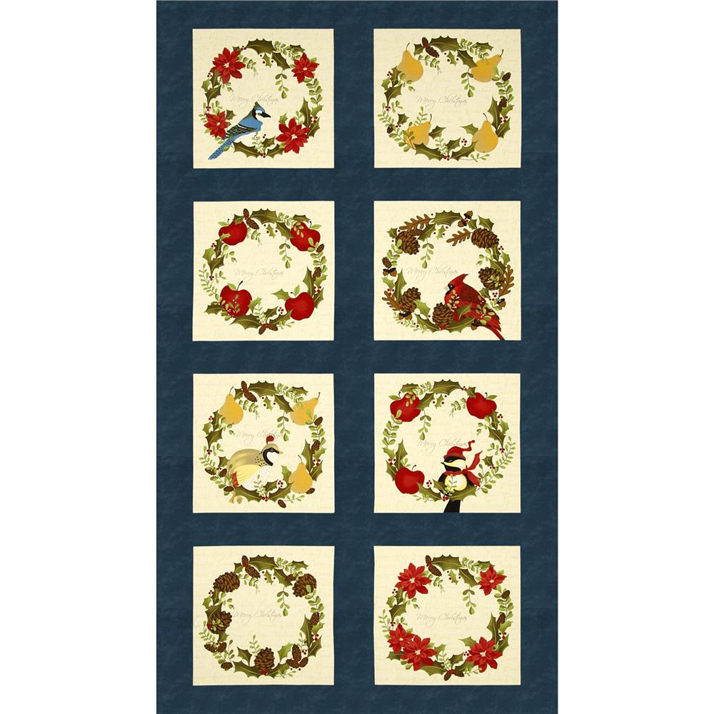 Moda Nature's Christmas Wreath Panel Night Blue