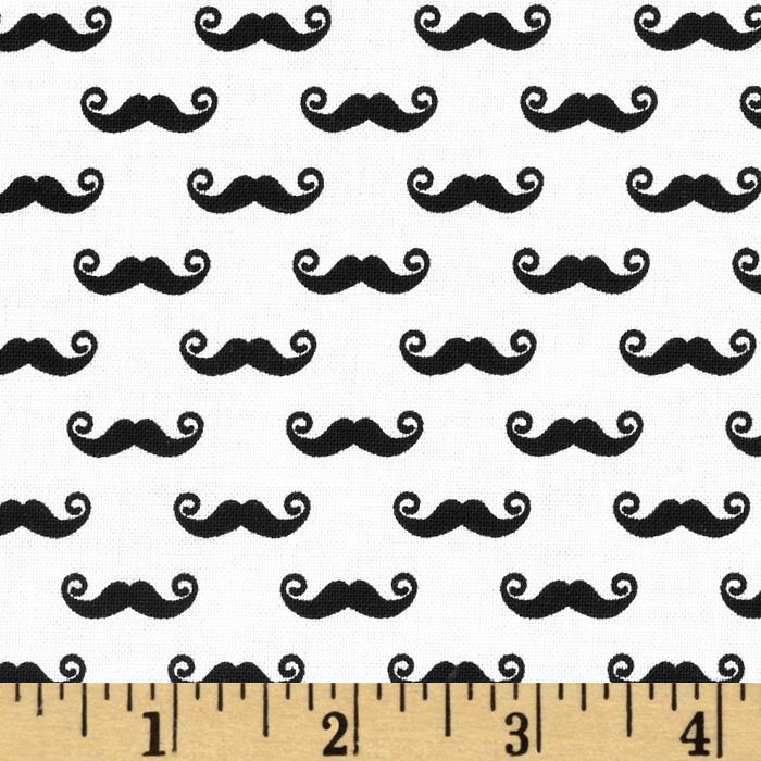 Riley Blake Geekly Chic Small Mustache Cream