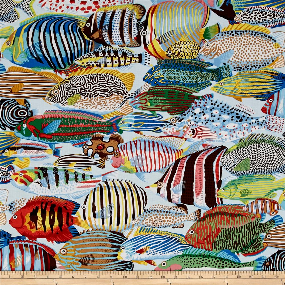 Natural world exotic fish natural discount designer for Fabric world