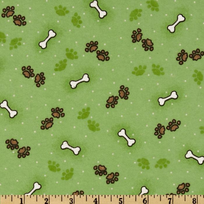 Comfy Flannel Paws Green
