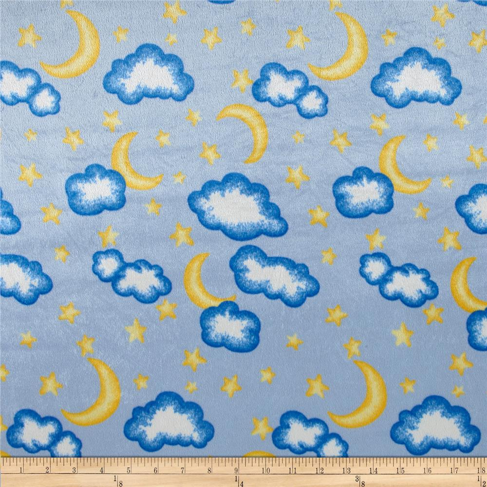 Crushed panne velour moon and stars blue discount for Moon and stars fabric