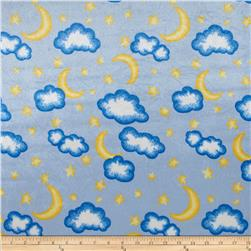 Crushed Panne Velour Moon and Stars Blue Fabric
