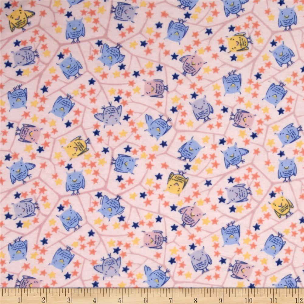 Nap Time Flannel Baby Owls Pink