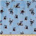 Minky Playing Monkeys Light Blue/Brown