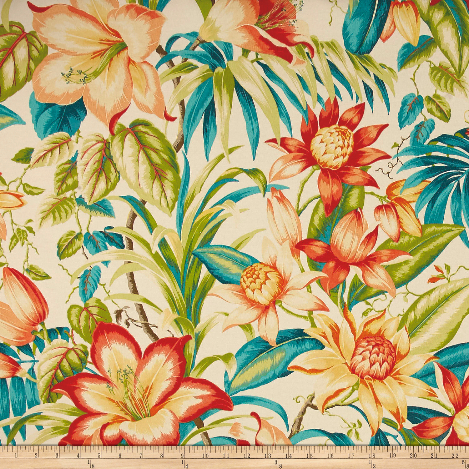 Tommy Bahama Indoor/Outdoor Botanical Glow Tiger Lily Fabric by Waverly in USA