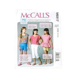 McCall's Children's/Girls' Tops Shorts and Pants Pattern M6917